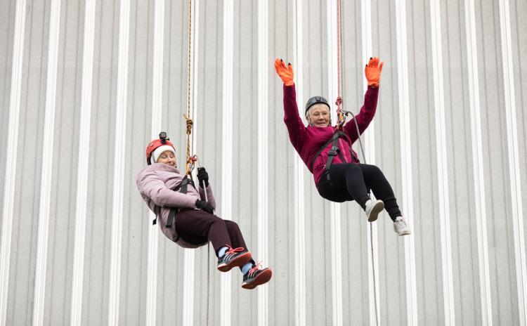 WATCH: Angela, 76, abseils down Limerick's Thomond Park alongside Josephine, 81