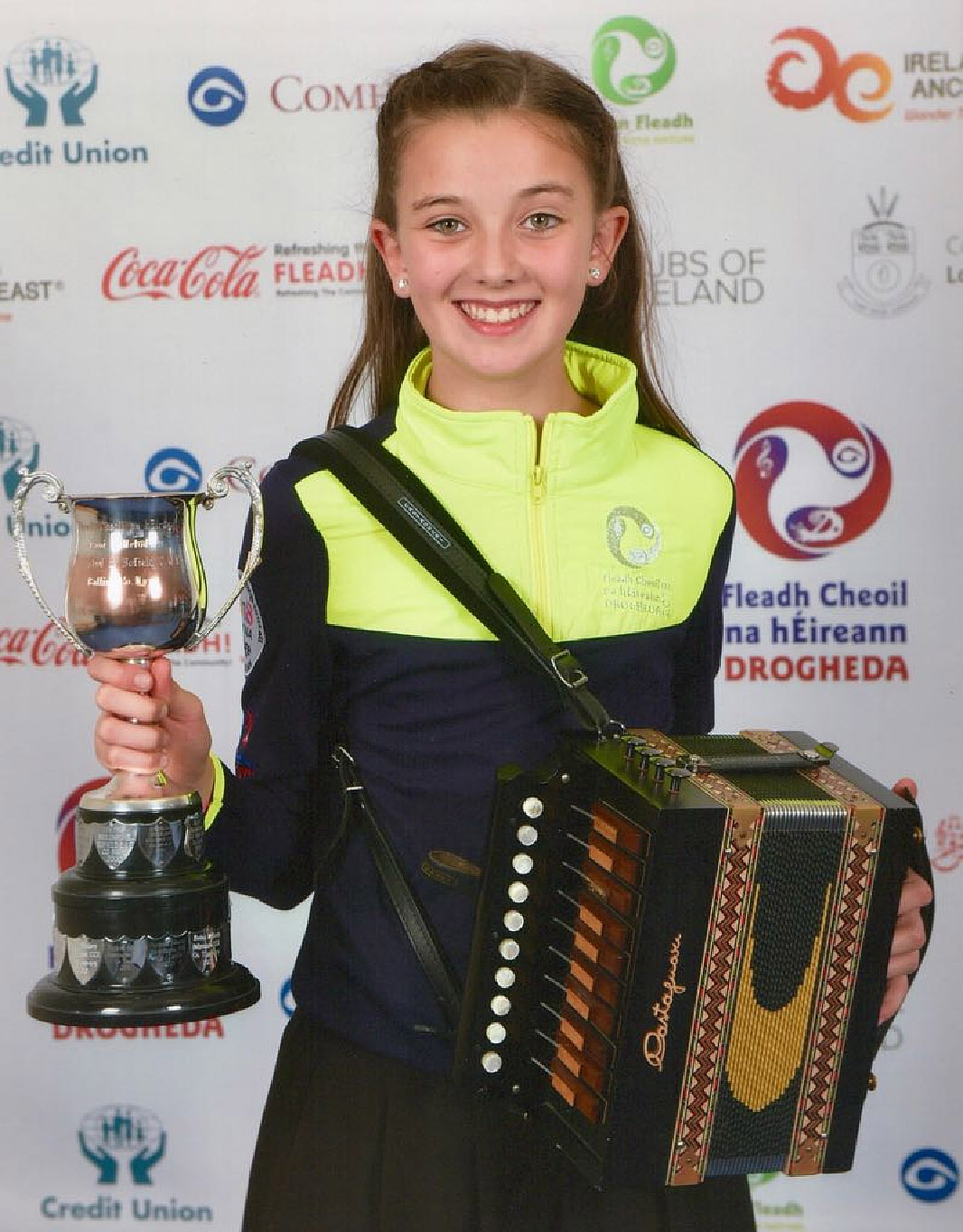 Anna McCaul C.C.É. Dún Dealgan winner of the Under 12 Melodeon  competition at Fleadh Cheoil na hÉireann in Drogheda