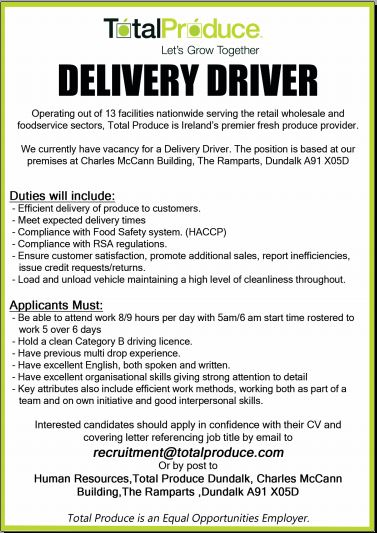 Delivery Driver required for Dundalk company Total Produce