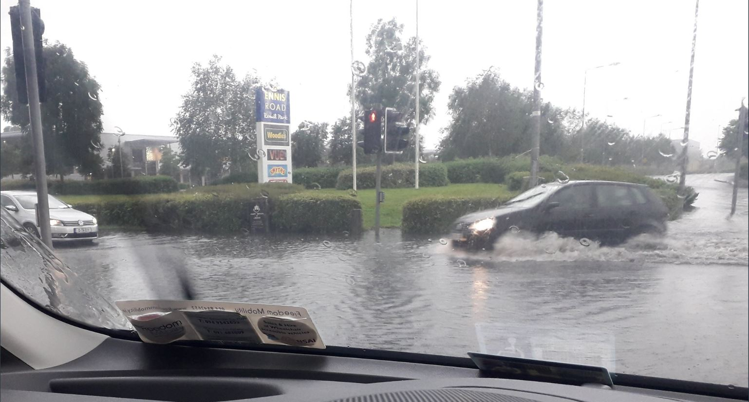 Image sent in by member of the public shows flooding outside the Ennis Road retail park
