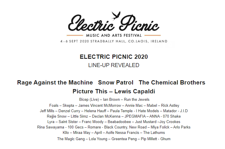 Electric Picnic Line Up